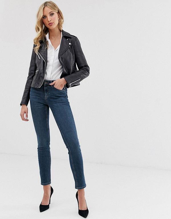 Vero Moda Slim jeans med slitna partier Mörkblå