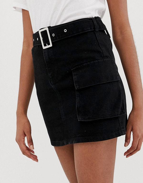 ASOS DESIGN Minikjol av denim med skärp och ficka i arbetsmodell