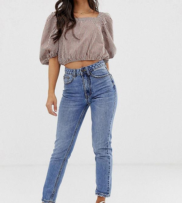 Vero Moda Petite Stentvättade mom-jeans med hög midja Mellanblå denim
