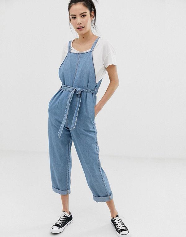 Pull&Bear Ljusblå jumpsuit i denim Ljusblå