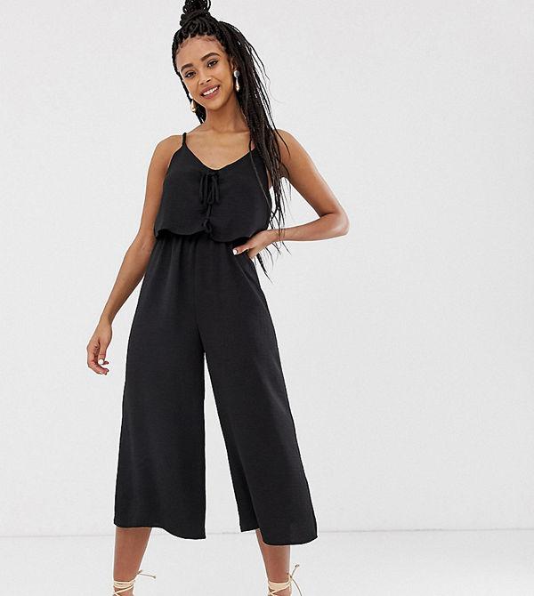 New Look Svart draperad jumpsuit med knytning fram