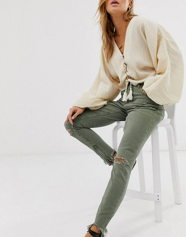One Teaspoon Freebirds Skinny jeans med hög midja och fransiga benslut Super khaki