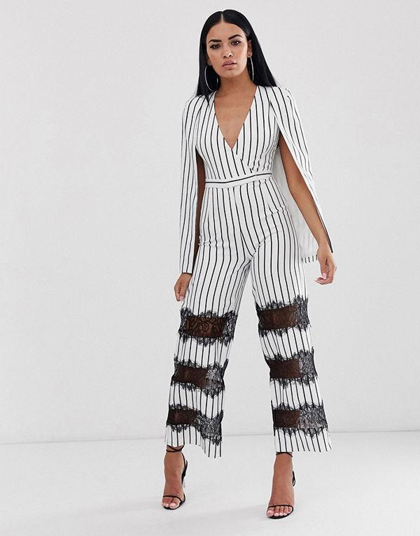 Lavish Alice Jumpsuit med spetspartier och cape Ivory stripes