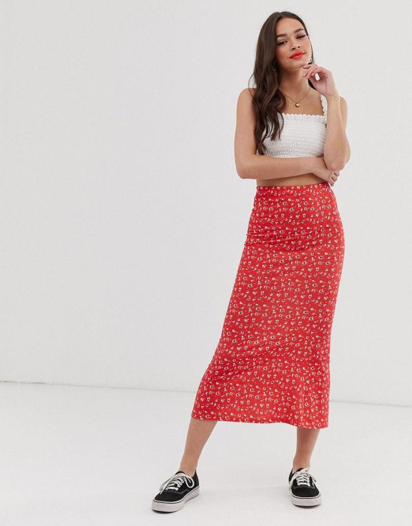 ASOS DESIGN Småblommig underkjol i jersey och midilängd Rött