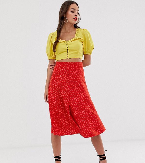 Boohoo Röd midikjol med småblommigt mönster
