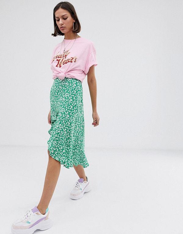 Bershka Grön småblommig asymmetrisk kjol