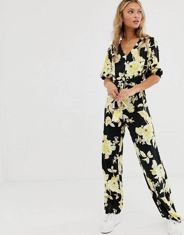 Miss Selfridge Blommig jumpsuit med knut framtill