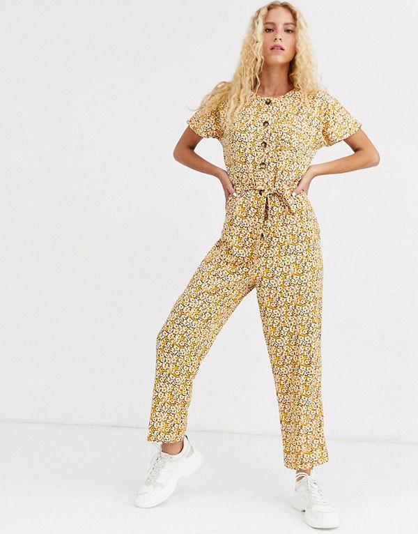 ASOS DESIGN Jumpsuit med knappar och vintageblommigt mönster Blommig gul