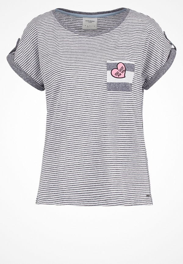 Vero Moda VMDIANA MIX Tshirt med tryck light grey melange/snow white