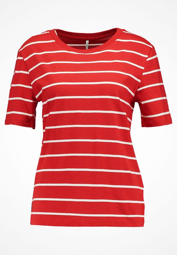 Only ONLGREAT STRIPE Tshirt med tryck flame scarlet/cloud dancer
