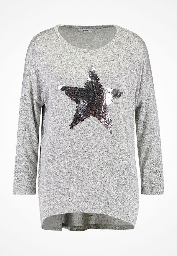 Only ONLMELIA 3/4 STAR SEQUENCE Stickad tröja light grey melange