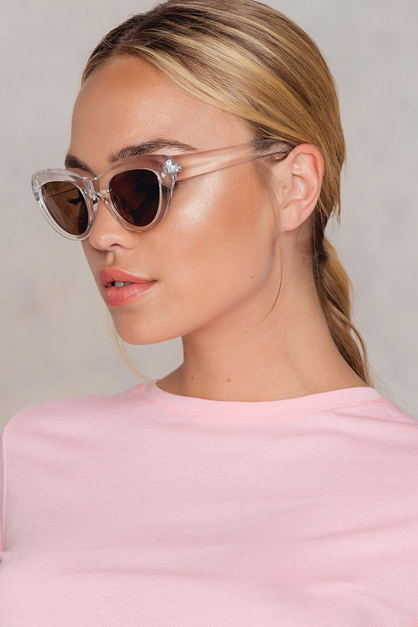 NA-KD Accessories Cat Eye Sunglasses vit silver