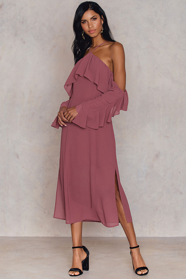 NA-KD Boho Frill A-neck Midi Dress lila