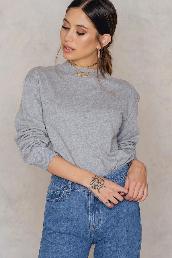 NA-KD Basic Basic Sweater grå