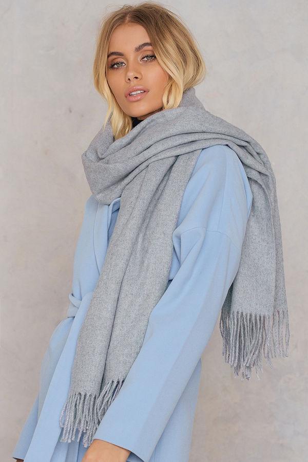 NA-KD Accessories Wool Blend Scarf grå