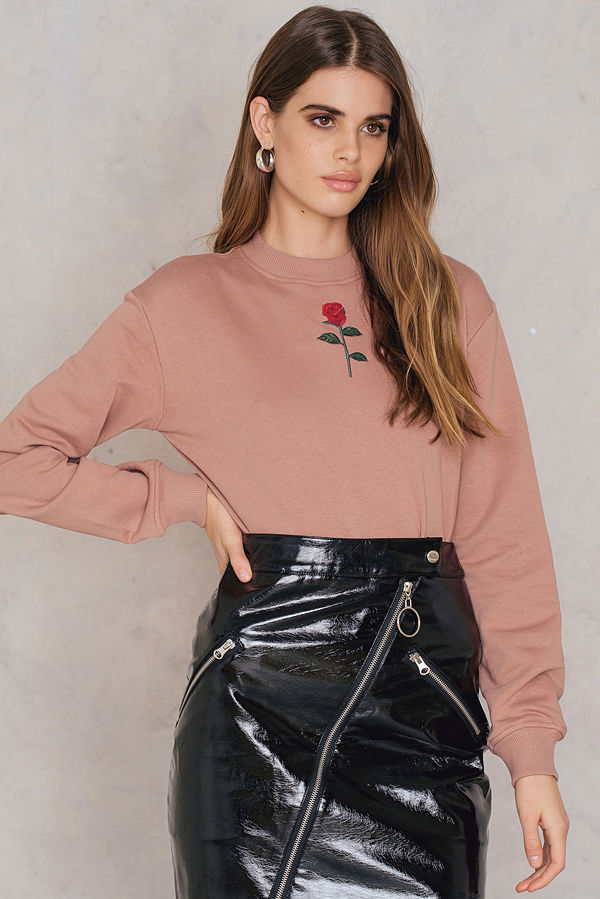 NA-KD Chest Rose Embroidery Sweater