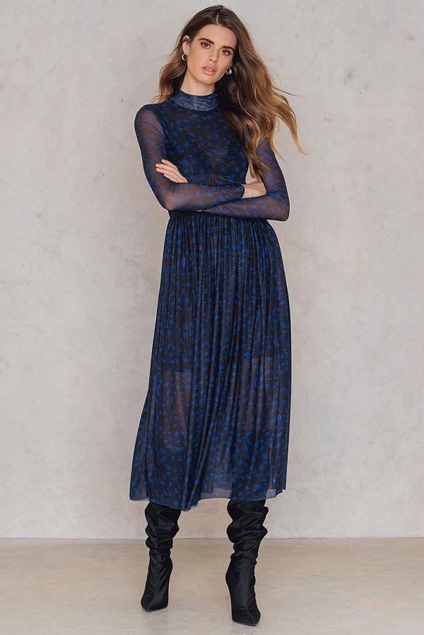 NA-KD Trend Mesh LS Midi Dress - Festklänningar