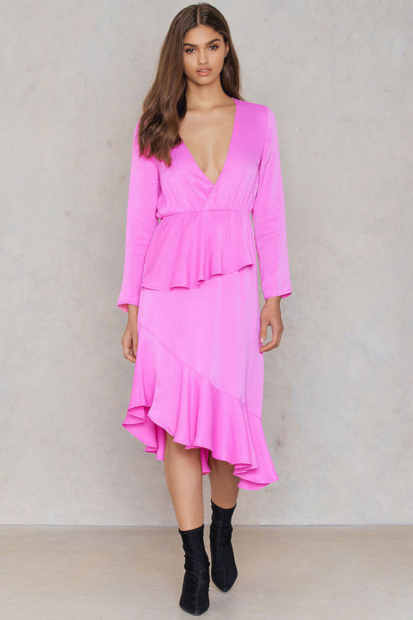 NA-KD Frill Detail Long Sleeve Dress rosa