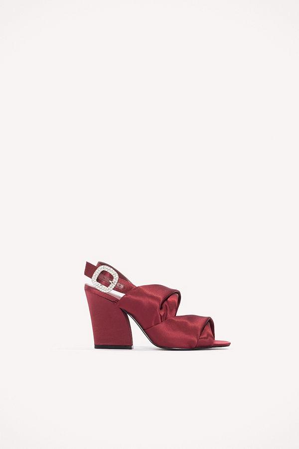 NA-KD Shoes Peep Toe Block Sandals röd