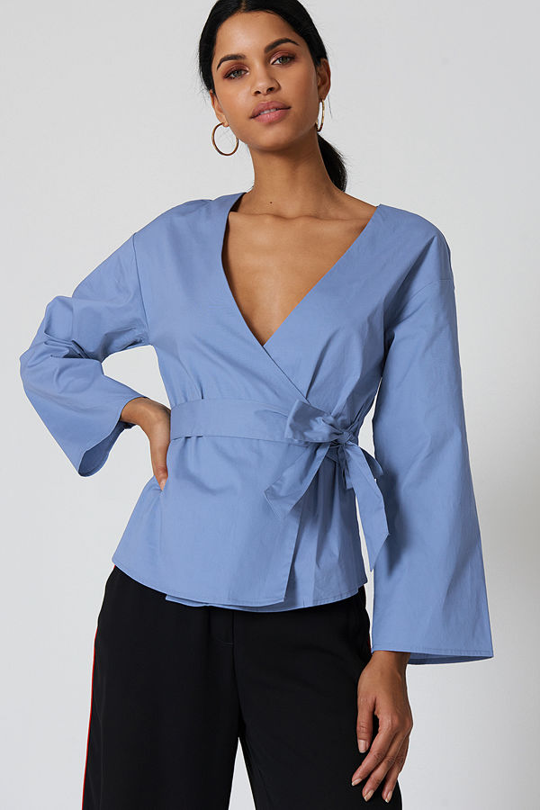 NA-KD Wrap Kimono Blouse - Blusar