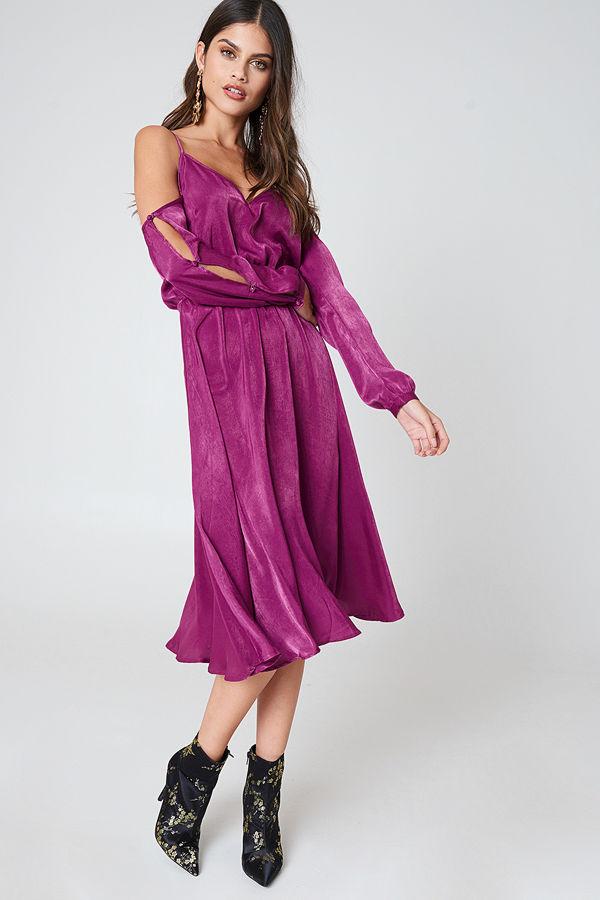 NA-KD V-Neck Cold Shoulder Midi Dress