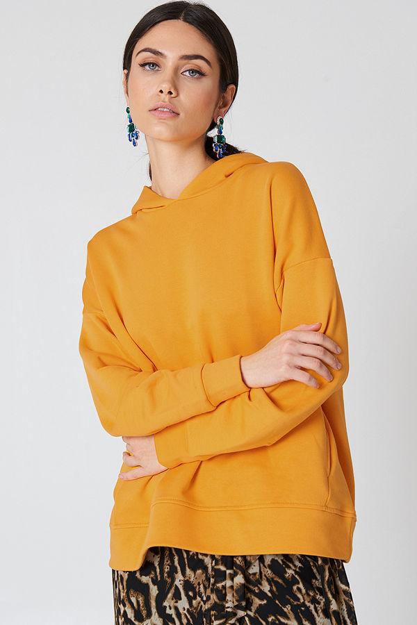 NA-KD Gathered Sleeve Hoodie orange