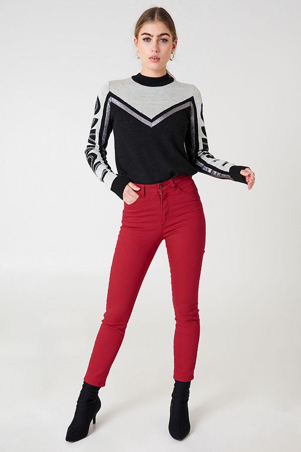 NA-KD Highwaist Skinny Jeans röd