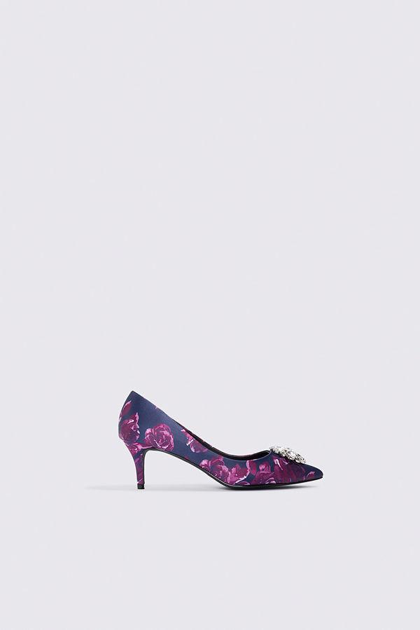 NA-KD Shoes Embellished Flower Printed Satin Pumps lila blå multicolor