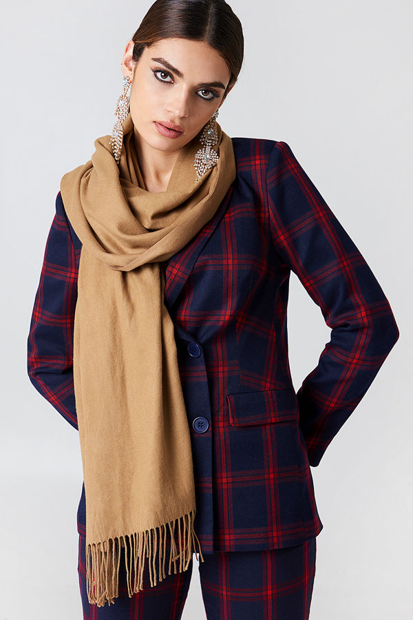 NA-KD Accessories Woven Scarf brun