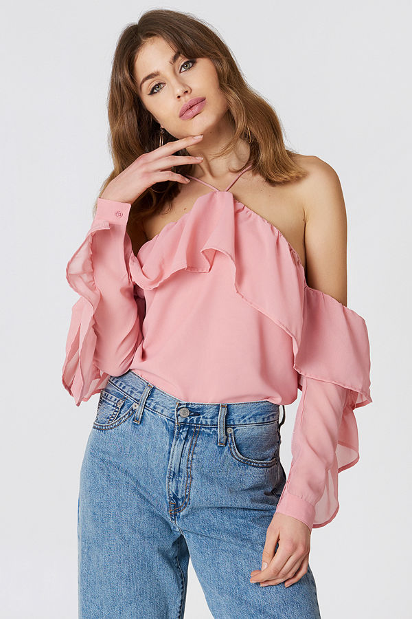 NA-KD Trend A-Neck Frill Sleeve Blouse