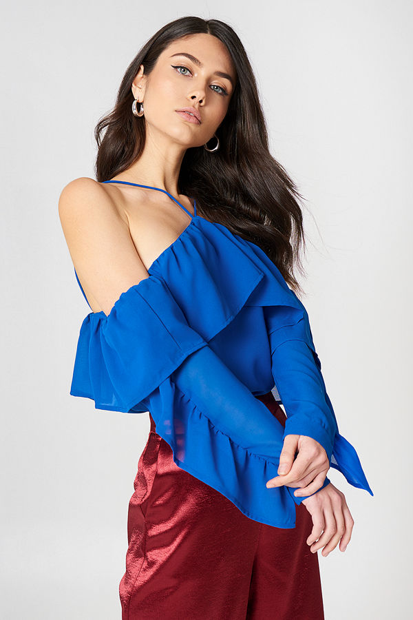 NA-KD Boho A-Neck Frill Sleeve Blouse - Blusar
