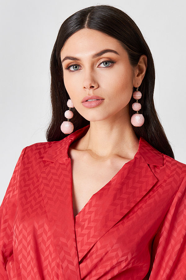 NA-KD Party Sequin Triple Globe Drop Earrings - Smycken