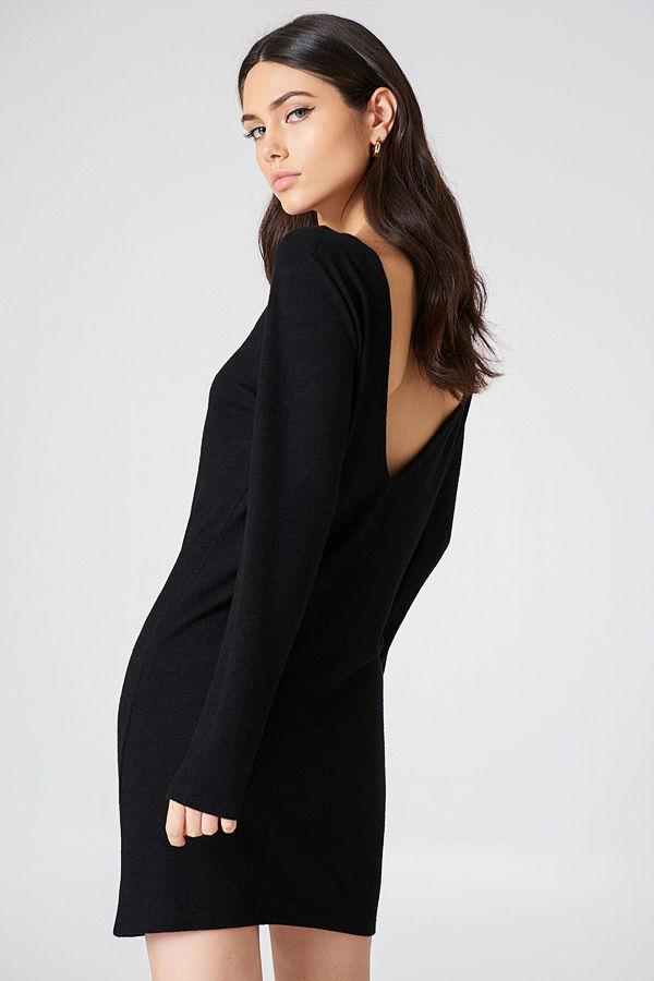 NA-KD Deep Back Long Sleeve Dress