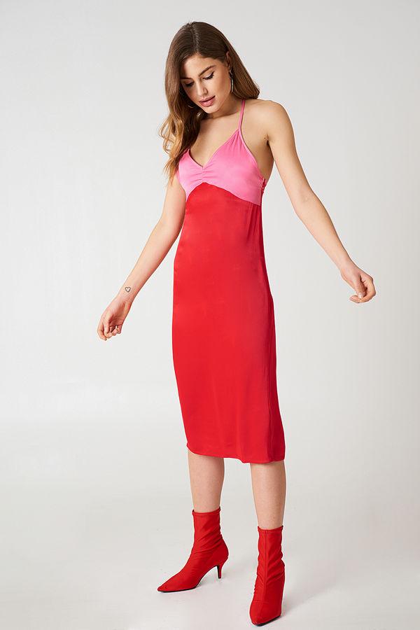 NA-KD Block Colored Slip Dress röd
