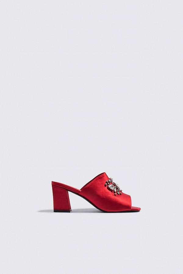 NA-KD Shoes Embellished Mule Sandals röd