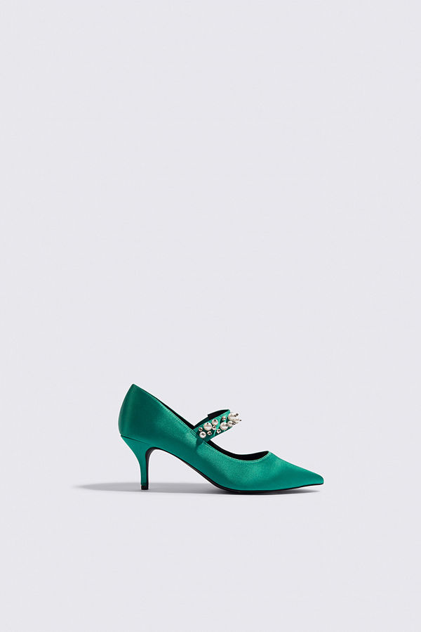 NA-KD Shoes Beaded Strap Satin Pumps grön