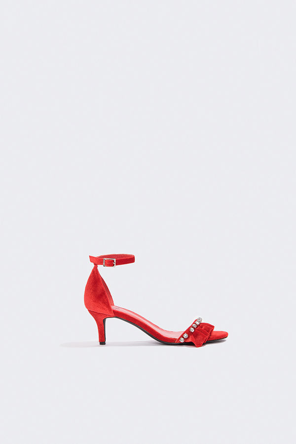 Hannalicious x NA-KD Rhinestone Frill Heels röd