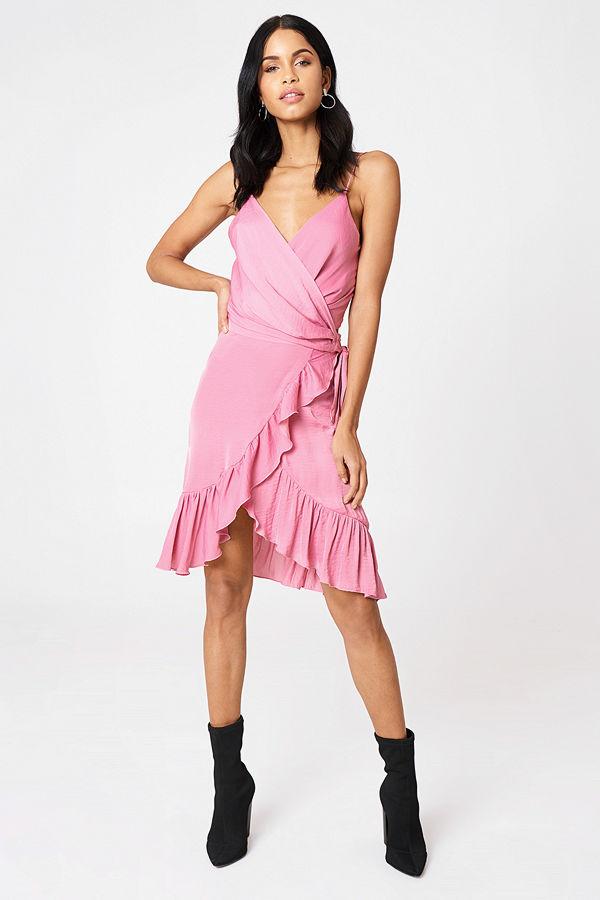 NA-KD Boho Wrap Over Frill Skirt rosa