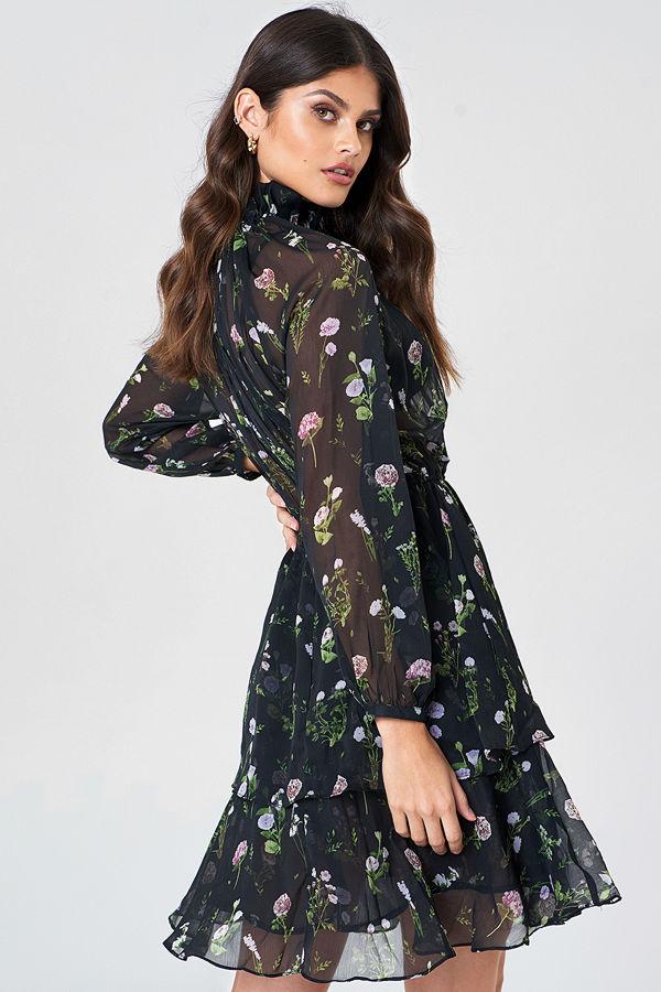 NA-KD Boho High Frill Neck Dress svart