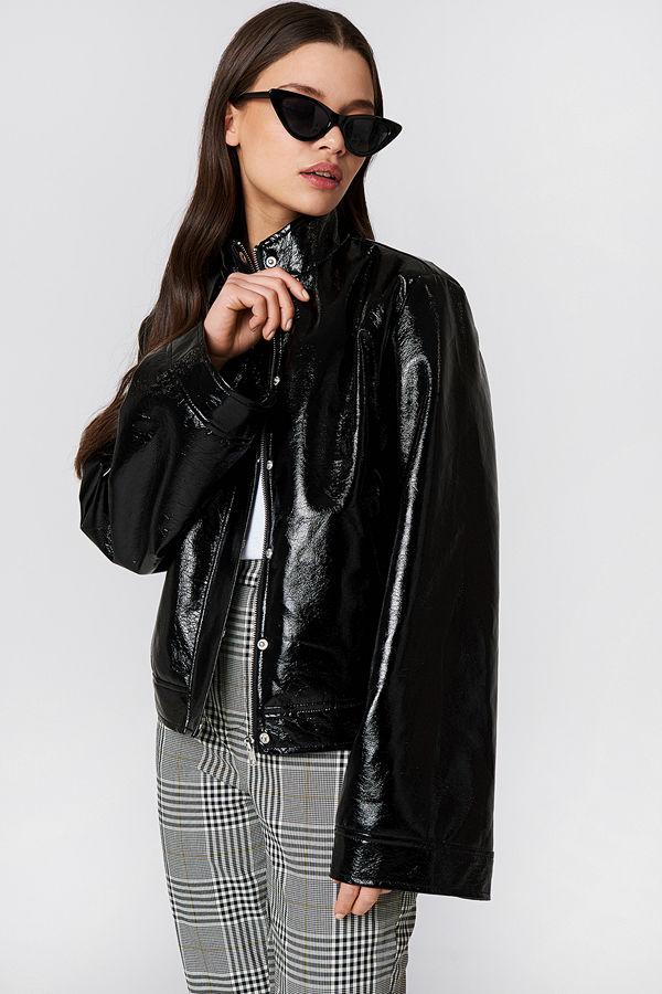 NA-KD Trend Wide Sleeve Patent Jacket svart