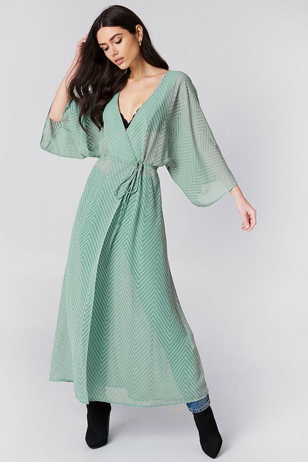 NA-KD Boho Structured Chiffon Coat Dress grön - Klänningar online ... 39f2044710aea