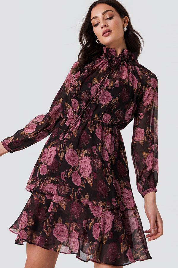 NA-KD Boho High Frill Neck Dress multicolor