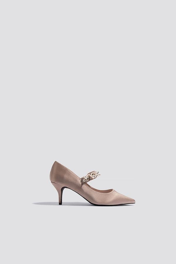 NA-KD Shoes Beaded Strap Satin Pumps rosa beige