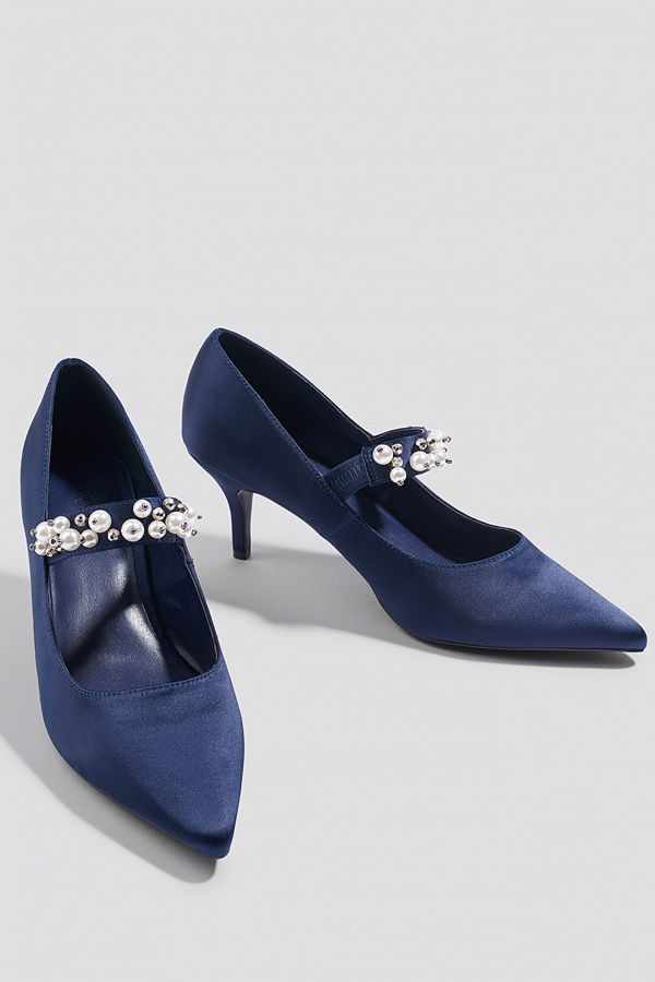 NA-KD Shoes Beaded Strap Satin Pumps blå