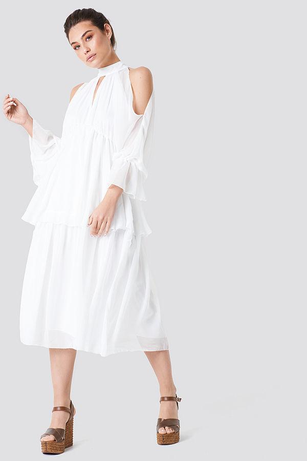 cb4f4edffede Trendyol Deco Shoulder Detailed Midi Dress - Midiklänningar ...