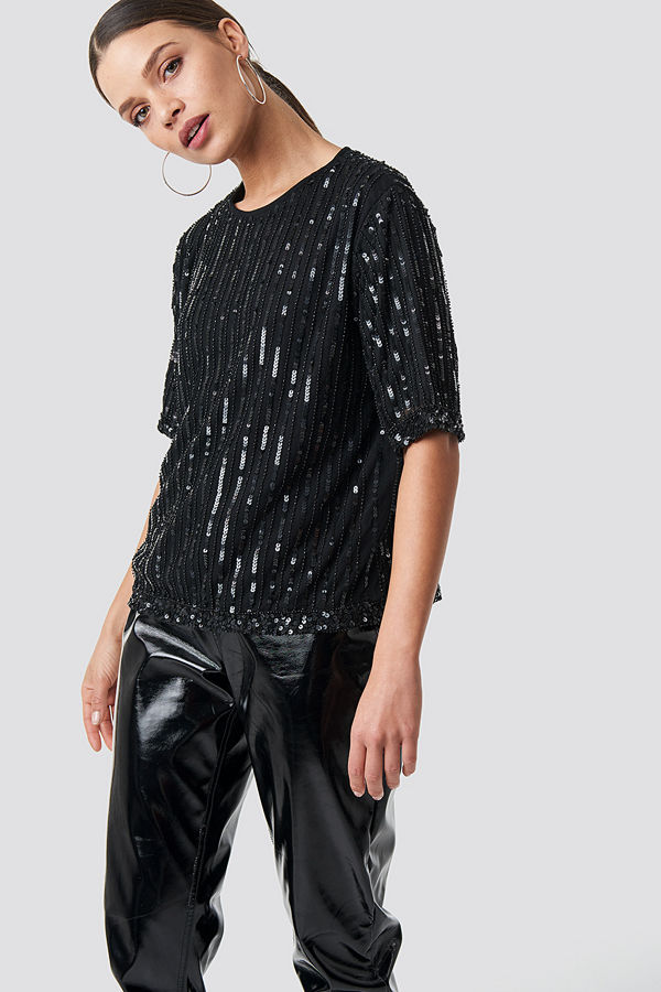 NA-KD Party Sequins Top svart