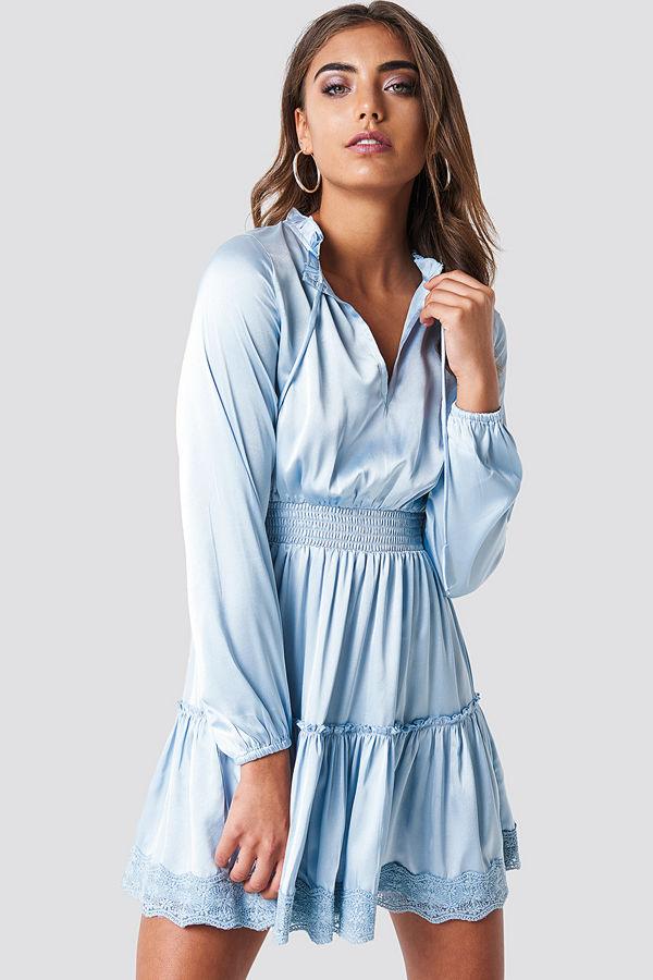 Iva Nikolina x NA-KD Long Sleeve Short Dress - Festklänningar