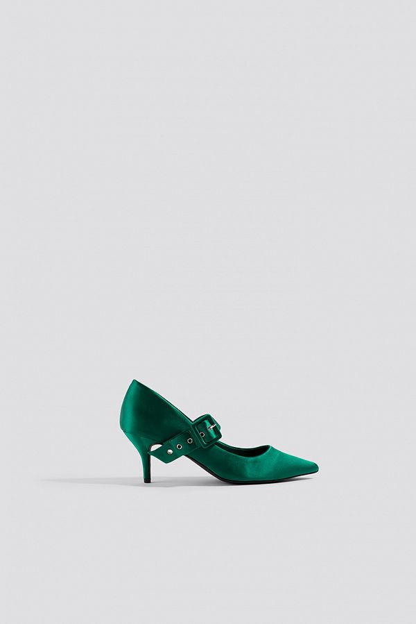 NA-KD Shoes Satin Buckle Pumps grön