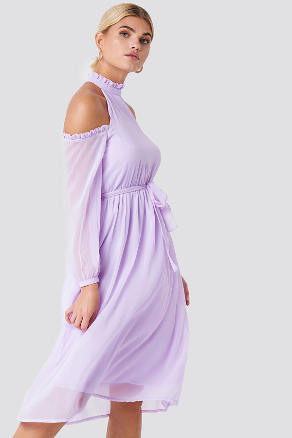 NA-KD Boho Cold Shoulder High Neck Midi Dress - Midiklänningar