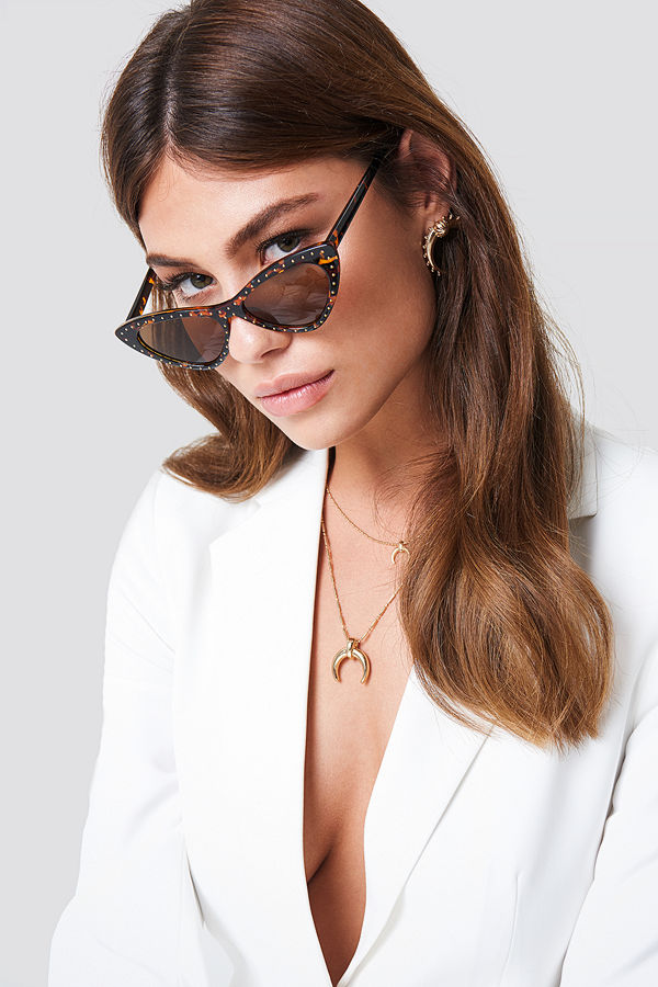 NA-KD Accessories Studded Cat Eye Sunglasses brun